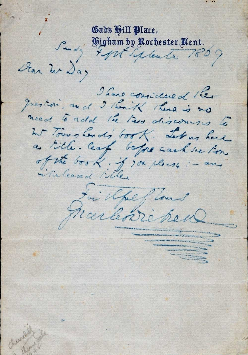 Letter. Charles Dickens to William Day, Gad's Hill Place, Higham by Rochester, Kent, 5 September 1869