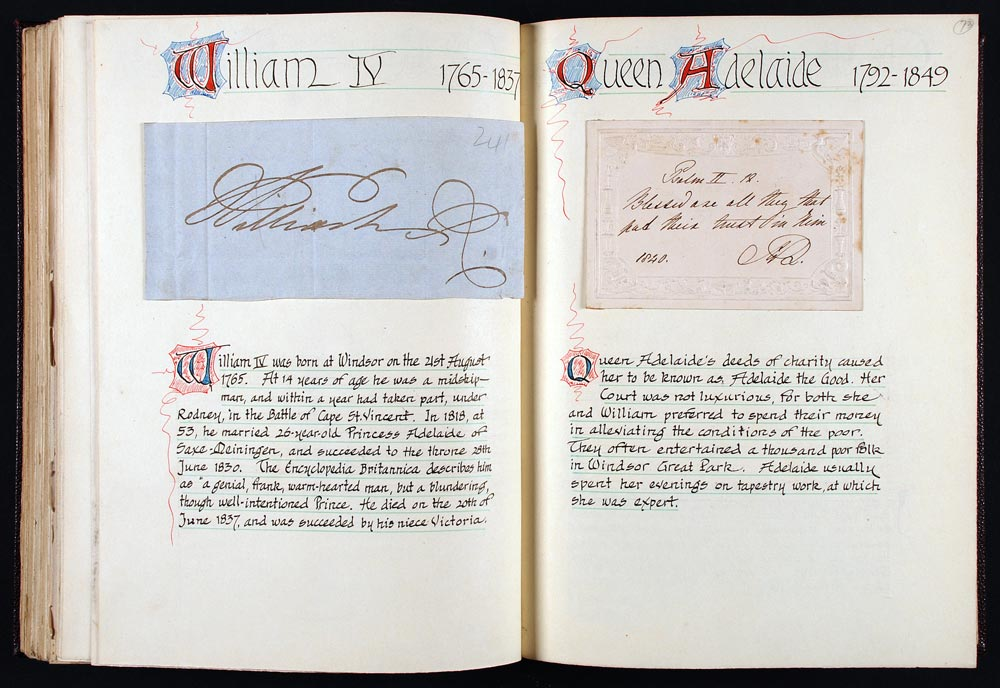Signature of William IV (1765–1837), and card initialled by Adelaide, Queen Consort to William IV (1792–1849), dated 1840. Mounted in album B.1, 'City of Dunedin Autographs, Alfred and Isabel Reed Collections' with calligraphic notes and decoration by A. H. Reed.