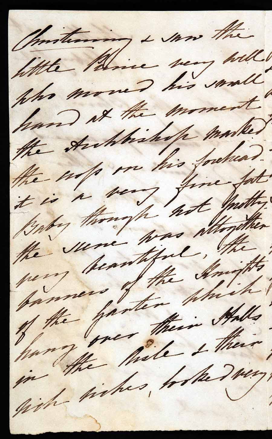 Partial letter. Angela Burdett-Coutts (1801–1899), 1 Stratton Street, London, 4 February 1842.