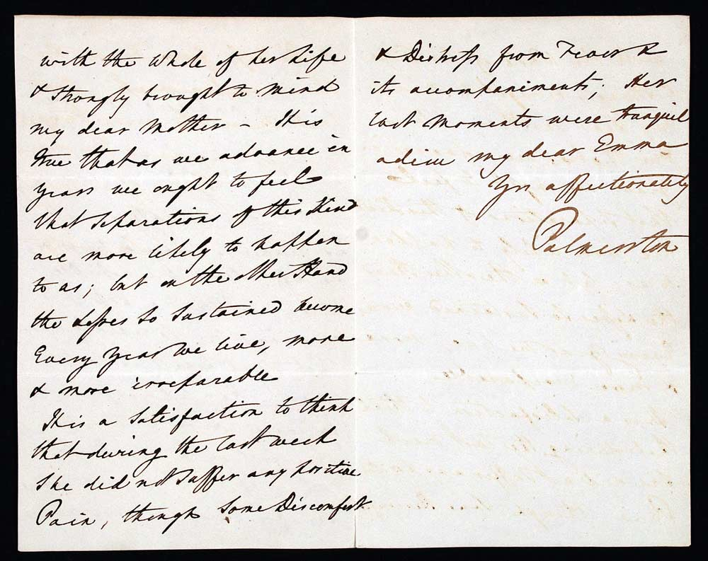 Letter signed. Henry John Temple, 3rd Viscount Palmerston, to Emma Murray (d. 1860), Stanhope Street, London, 1 December 1838.