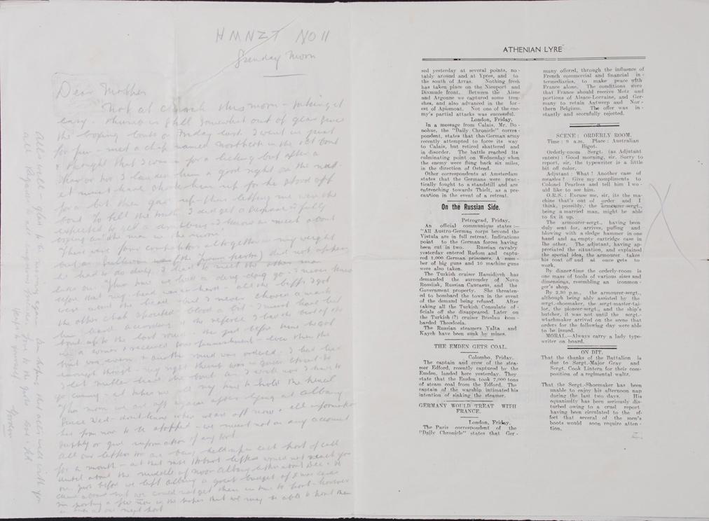Gordon [Ferens]. To Dear Mother. Letter. HMTS 11: November 1914