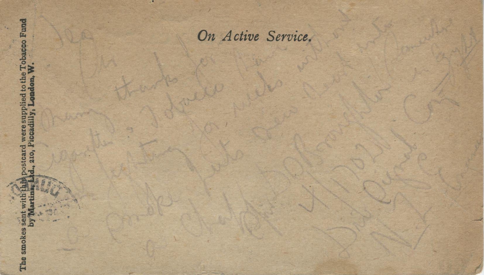 Dudley Seabrook Broughton to W B McEwan, Dunedin. Postcard. London: Over-seas Club Tobacco Fund, [1915]