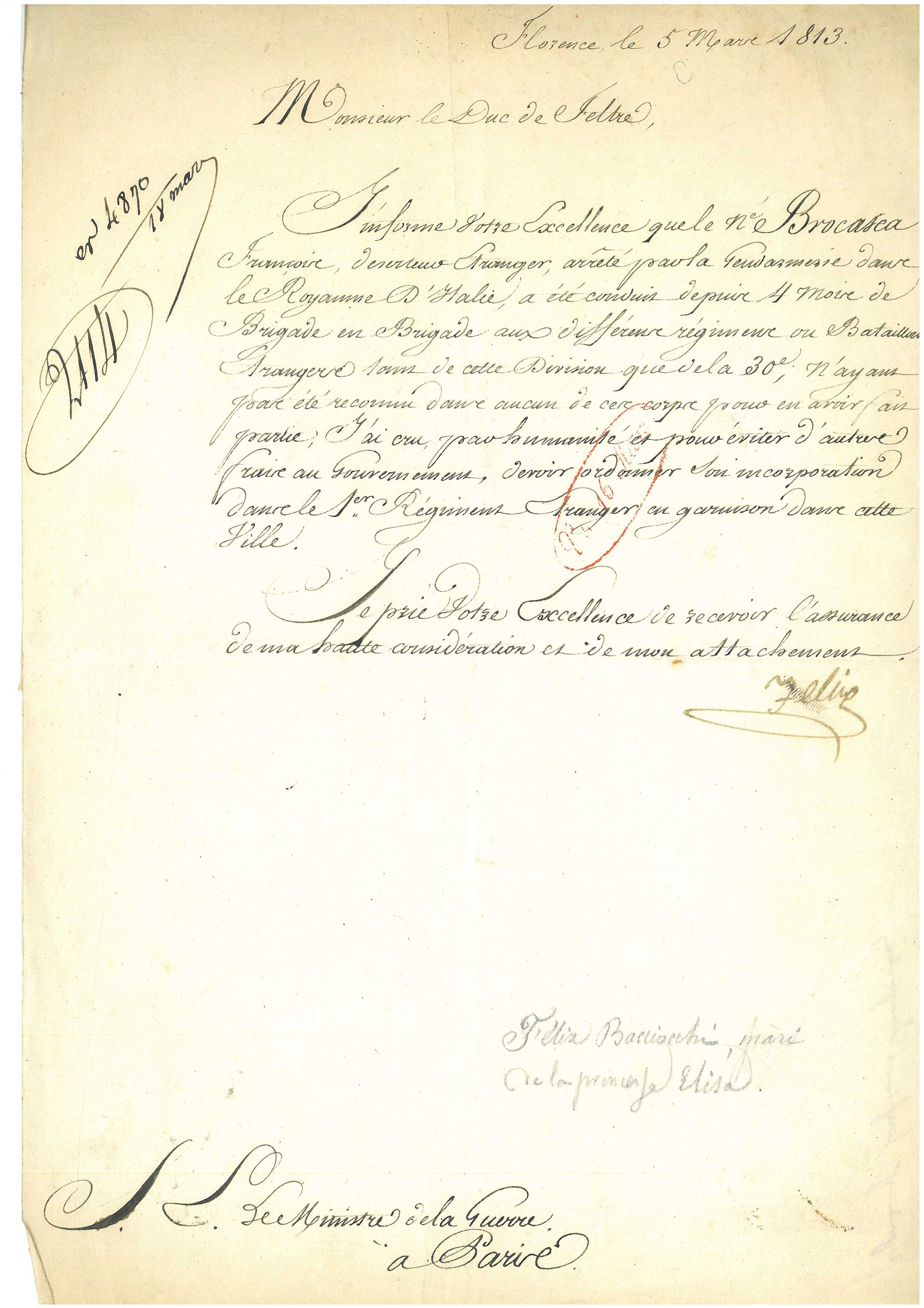 Felice Pasquale  Baciocchi (1760-1844) to the Duke of Feltre Florence, March 5, 1813