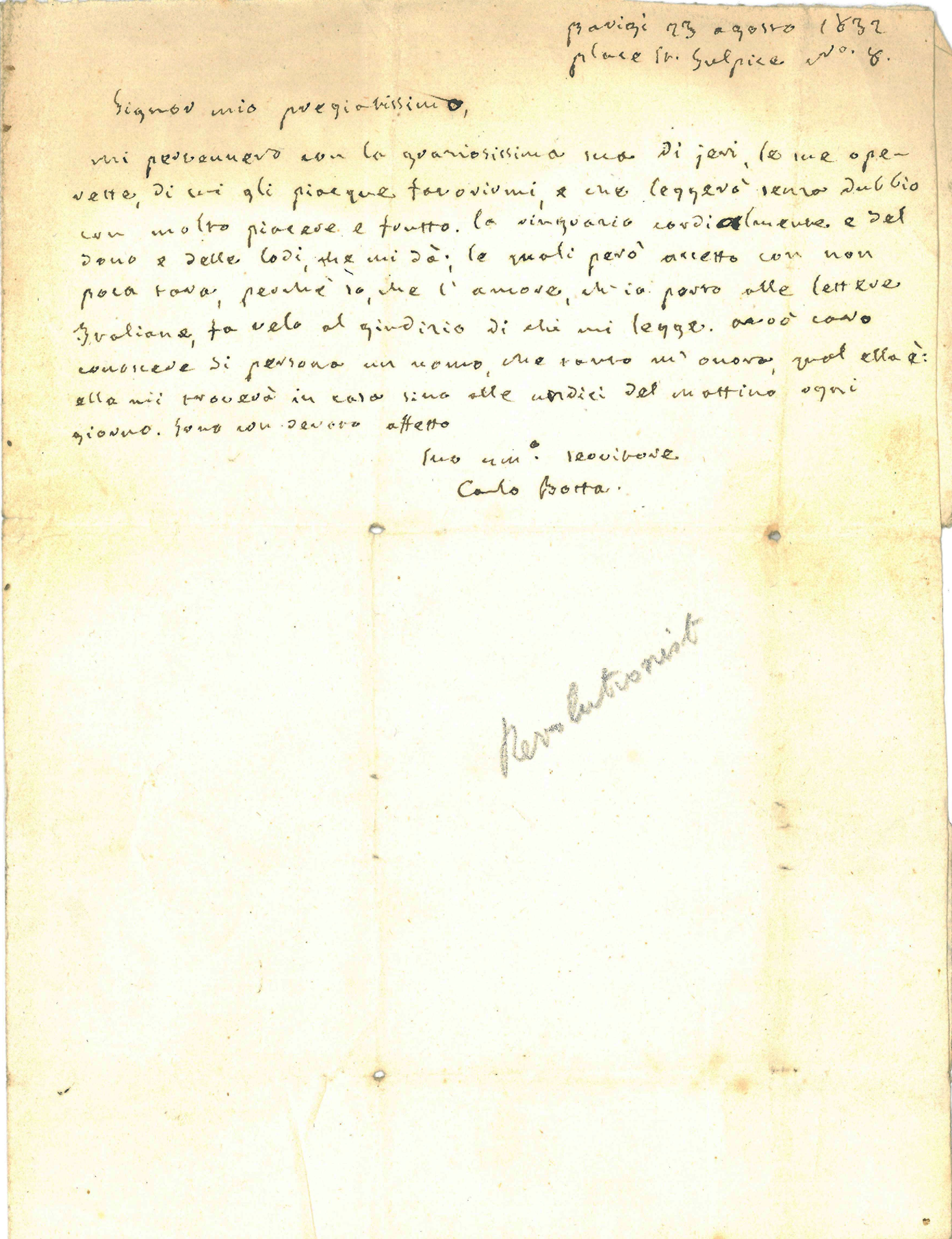 Carlo Giuseppe Guglielmo Botta (1766-1837) to Felix C. Albites (?-?) Paris, 23 August, 1832