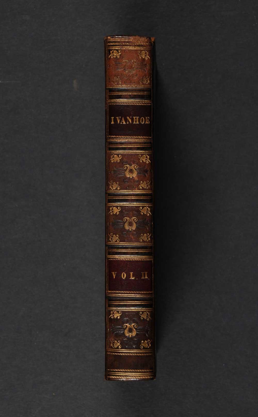 [Sir Walter Scott]. <em>Ivanhoe: a romance.</em> [1st edition]. Edinburgh: Printed for Archibald Constable and Co., Edinburgh; and Hurst, Robinson, and Co., London, 1820. Three volumes; Vol. 2 displayed.
