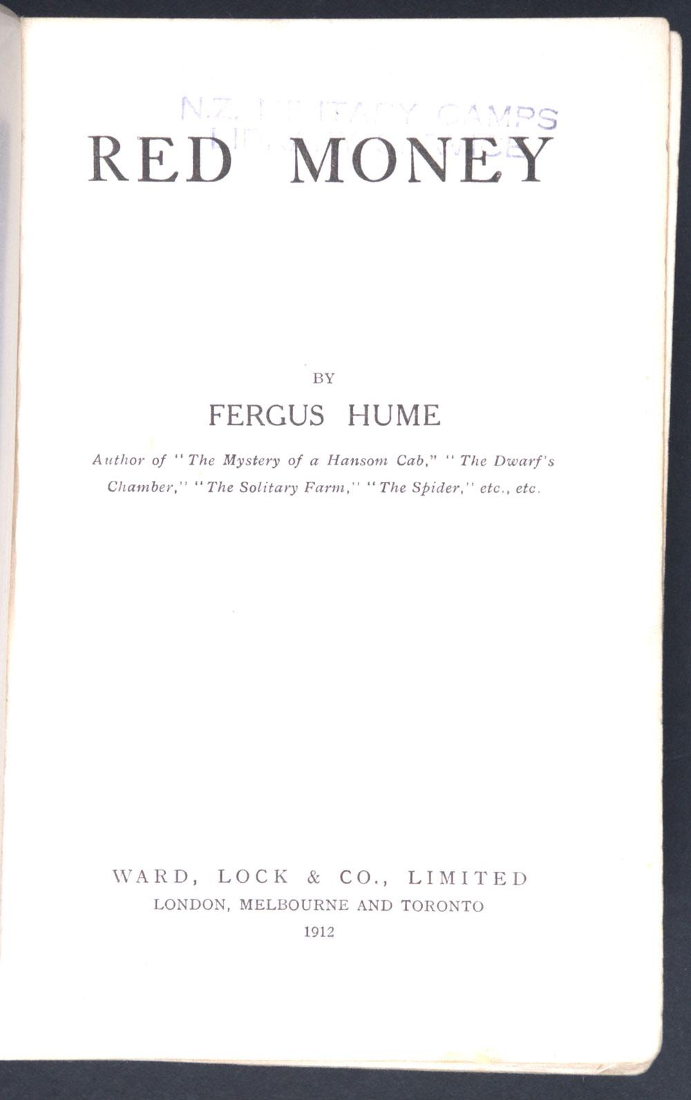 Fergus Hume. <em>Red money</em>. London: Ward, Lock, 1912.