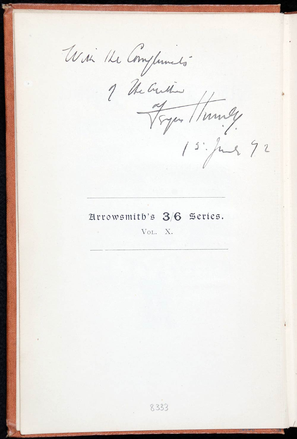 Fergus Hume. <em>When I lived in Bohemia: papers selected from the portfolio of Peter --, Esq</em>. Bristol: J.W. Arrowsmith, 1892.