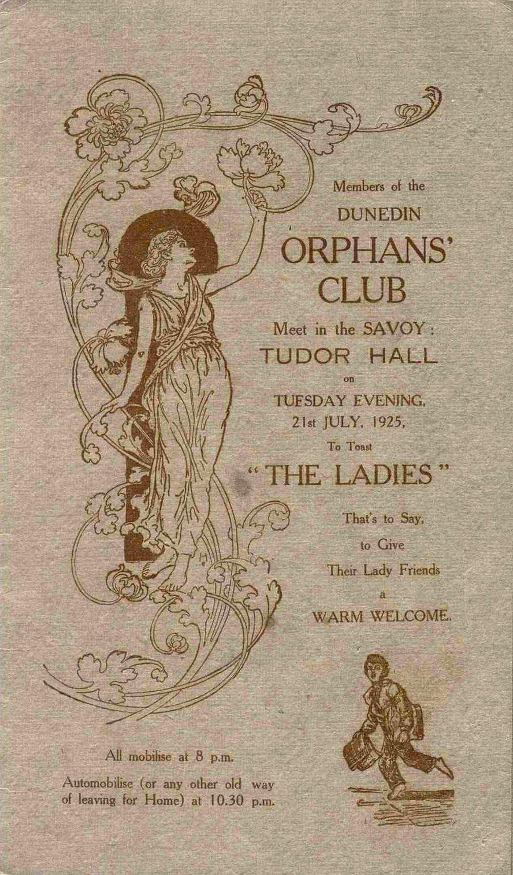 <em>Members of the Dunedin Orphans' Club meet … to toast the ladies, that's to say, to give their lady friends a warm welcome</em>. (Dunedin Orphans' Club). Tudor Hall, Savoy, Dunedin, July 21, 1925.