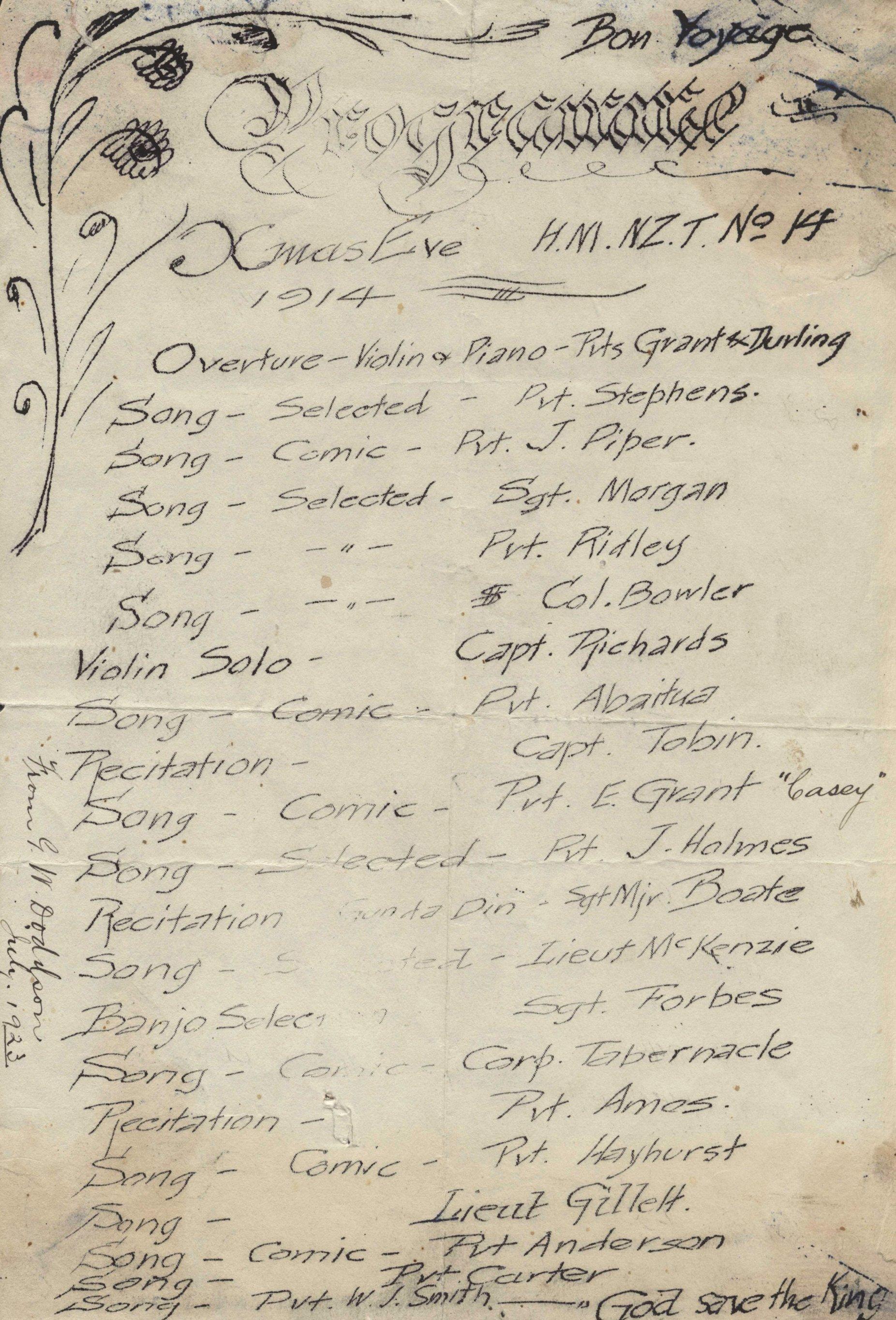 Xmas Eve 1914 programme