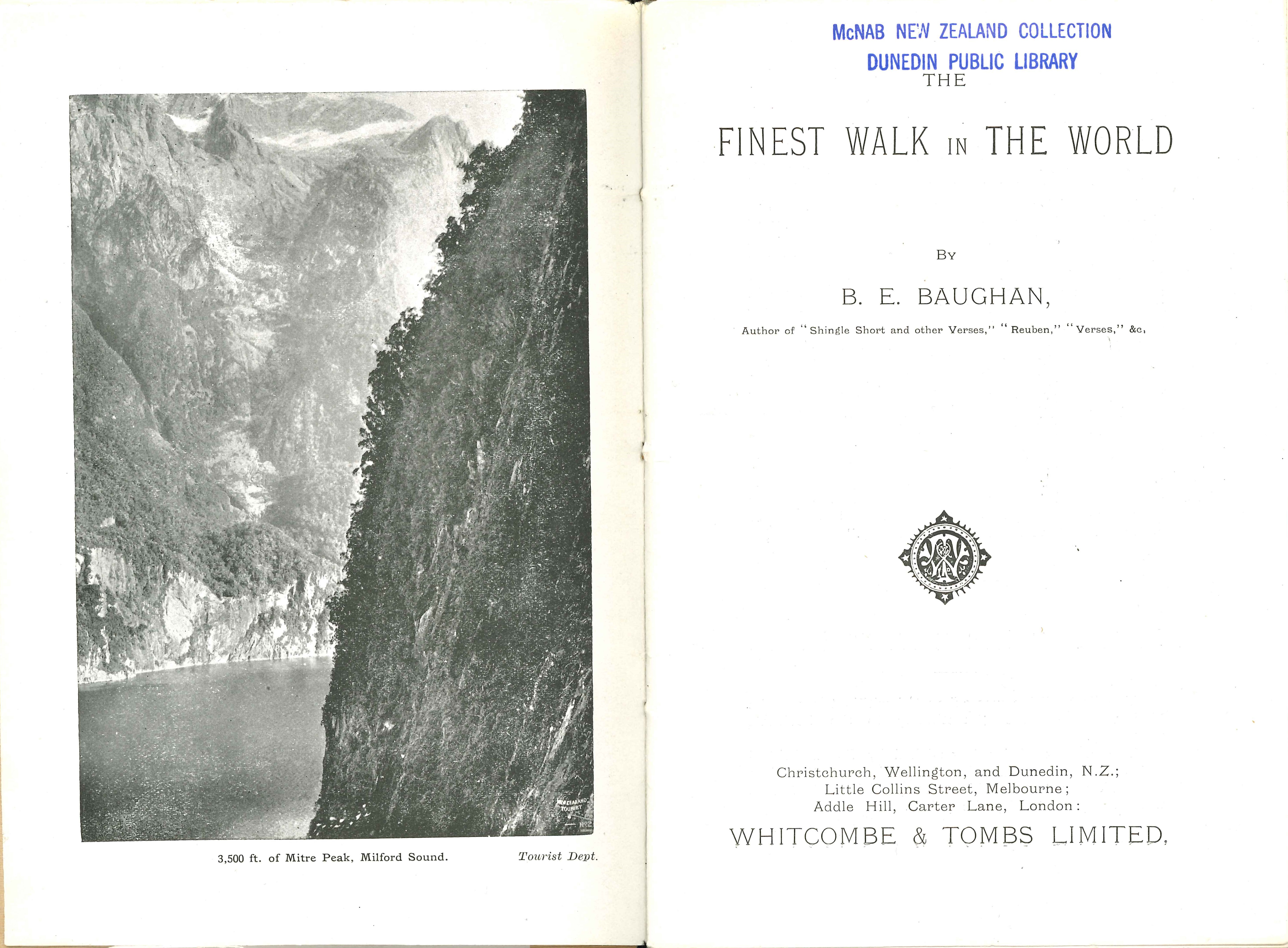 Blanche Baughan. The finest walk in the world. Second edition. Christchurch: Whitcombe & Tombs, [1913?]
