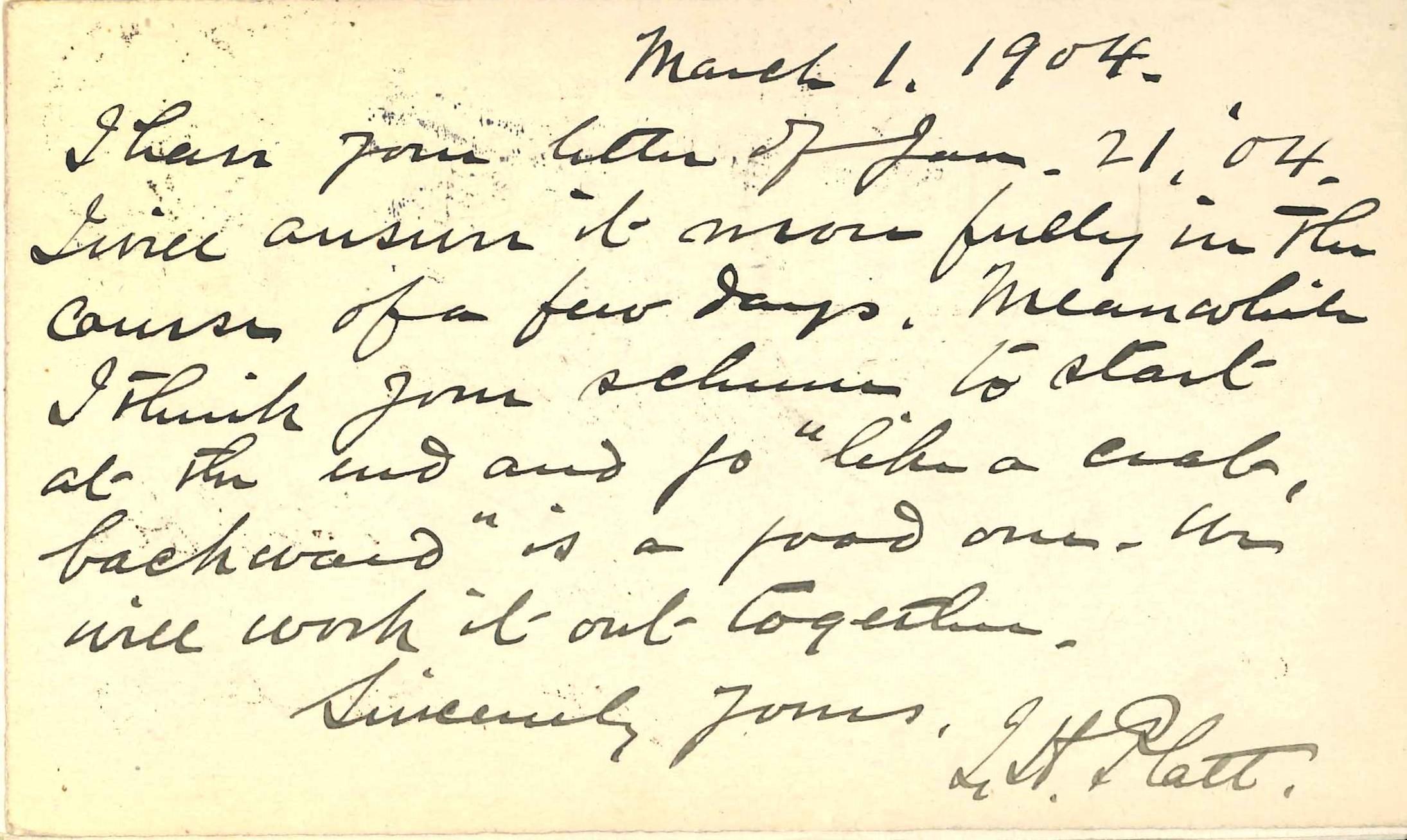 Postcard, March 1, 1904, Isaac Hull Platt to W.H. Trimble. Affixed to front endpaper of: Isaac Hull Platt. Walt Whitman. Boston: Small, Maynard, 1904.