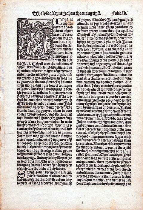 Single leaf from Jacobus de Voragine's The Golden Legend. Westminster: Wynkyn de Worde, 1527. RPRF Eng. 1527/1