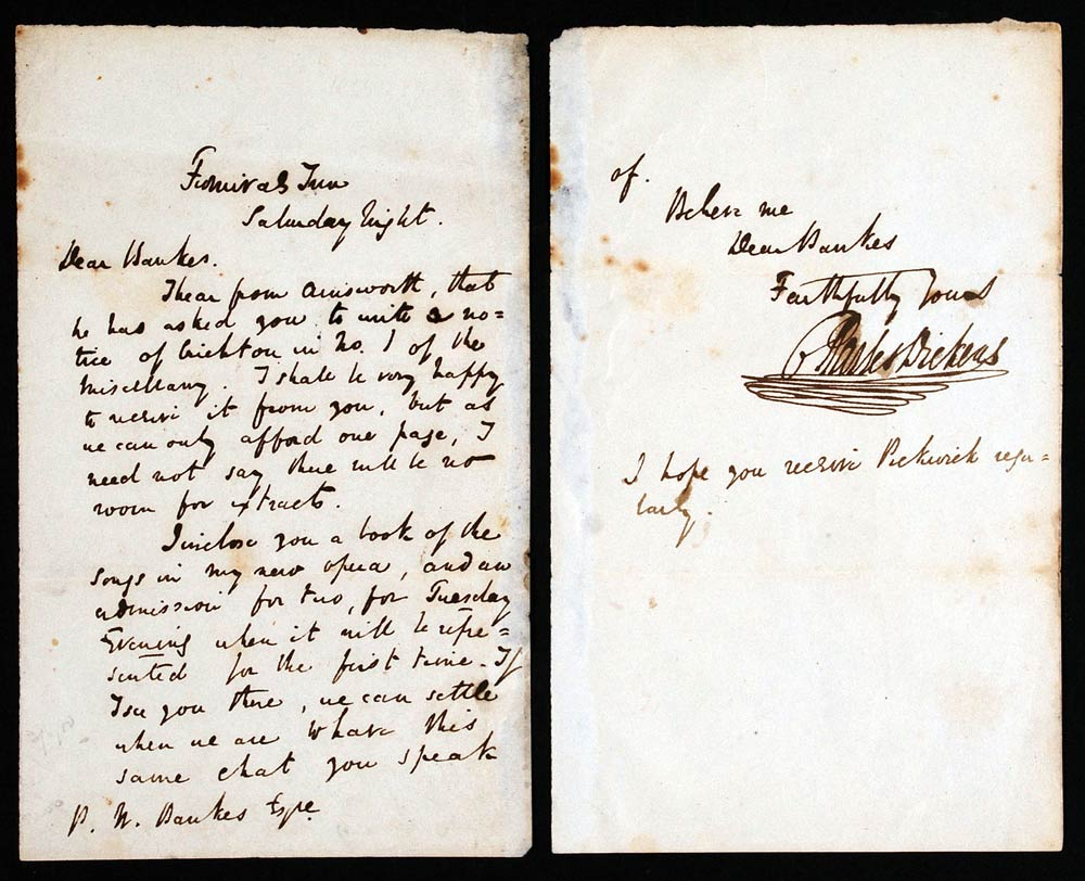 Letter. Charles Dickens to P. W. Banks, Furnival's Inn, London  [early December 1836].
