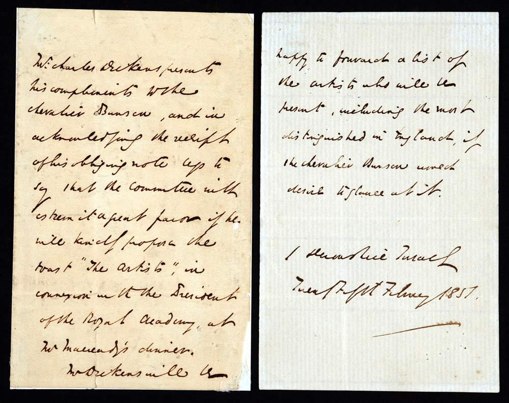 Letter (in third person). Charles Dickens to Christian Karl Josias, Baron Bunsen, 1 Devonshire Terrace, 25 February 1851