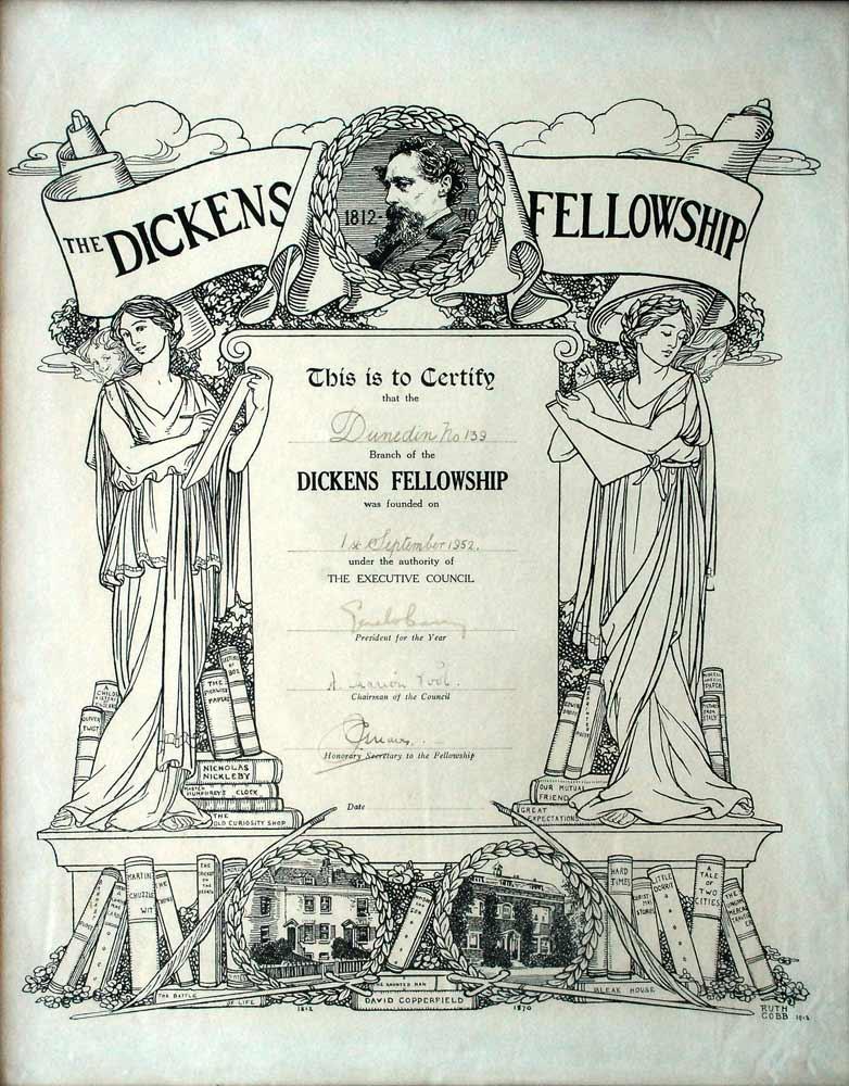 Founding certificate for the Dunedin Dickens Fellowship, 1 September 1952