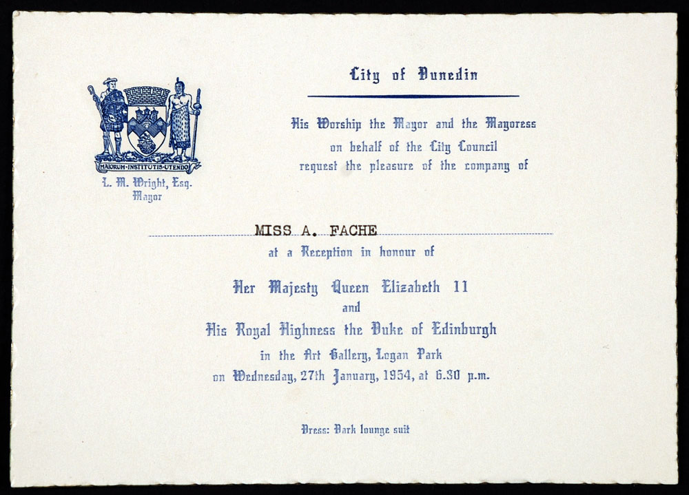 Invitation to a reception in honour of Queen Elizabeth II, issued to the City Librarian, Ada Fache, 27 January 1954.