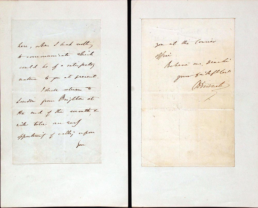 Letter signed. Benjamin Disraeli, 1st Earl of Beaconsfield (1804–1881), to 'Sir', 17 April [1839].
