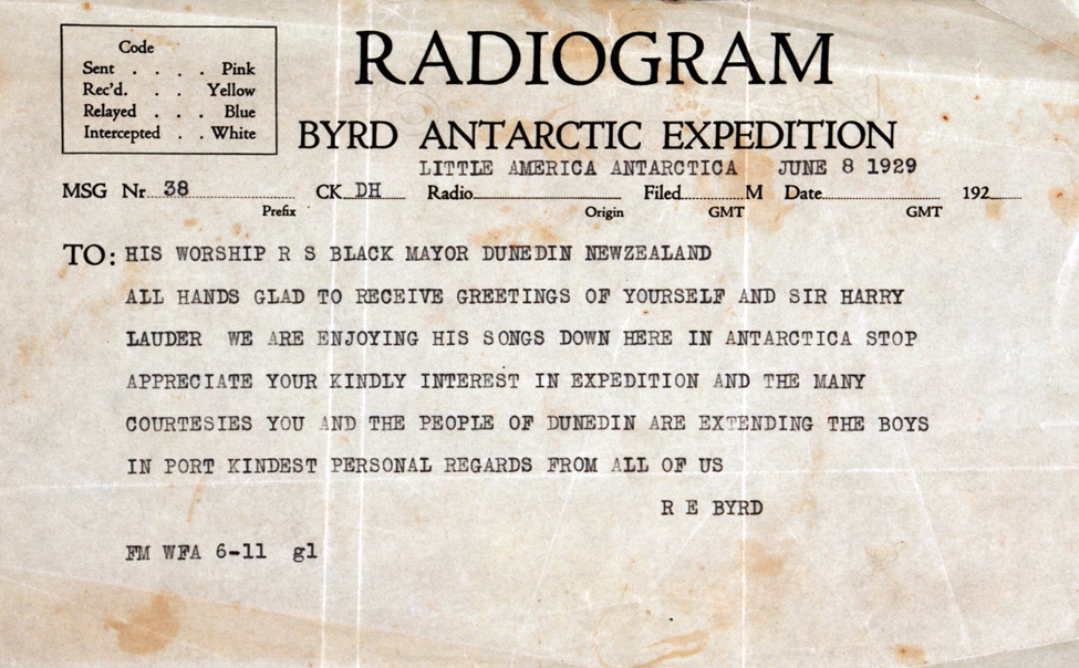 Radiogram. Richard E. Byrd to His Worship R. S. Black, Little America, Antarctica, 8 June 1929.