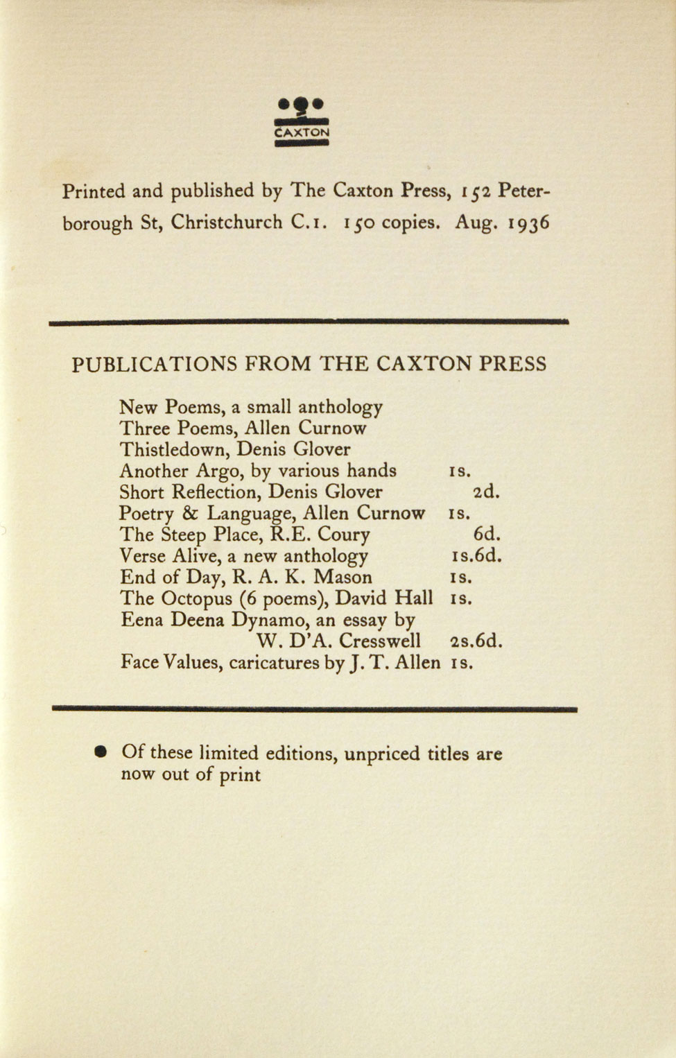 Denis Glover. Three Short Stories. <i>Christchurch: The Caxton Press, 1936.</i>