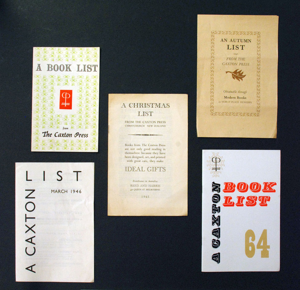 A selection of book lists issued by The Caxton Press, 1945–1964.