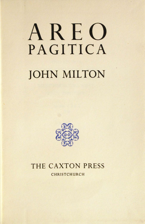 John Milton. Areopagitica. <i>Christchurch: The Caxton Press, 1941.</i>