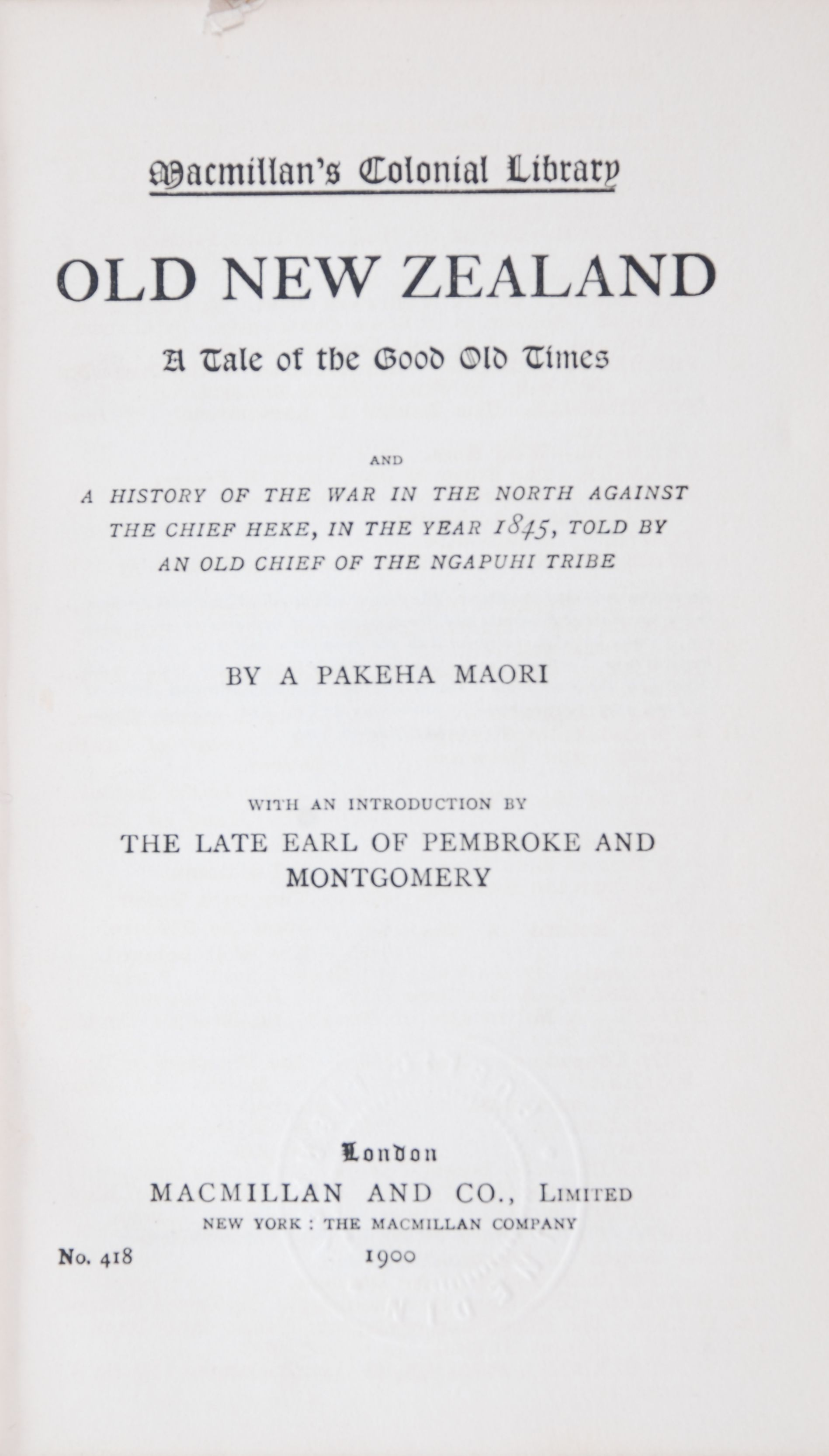 F. E. Maning. Old New Zealand: A tale of the good old times and a history of the war in the North against the chief Heke, in the year 1845, told by an old chief of the Ngapuhi tribe.  London: Macmillan and Co. Limited, 1900.