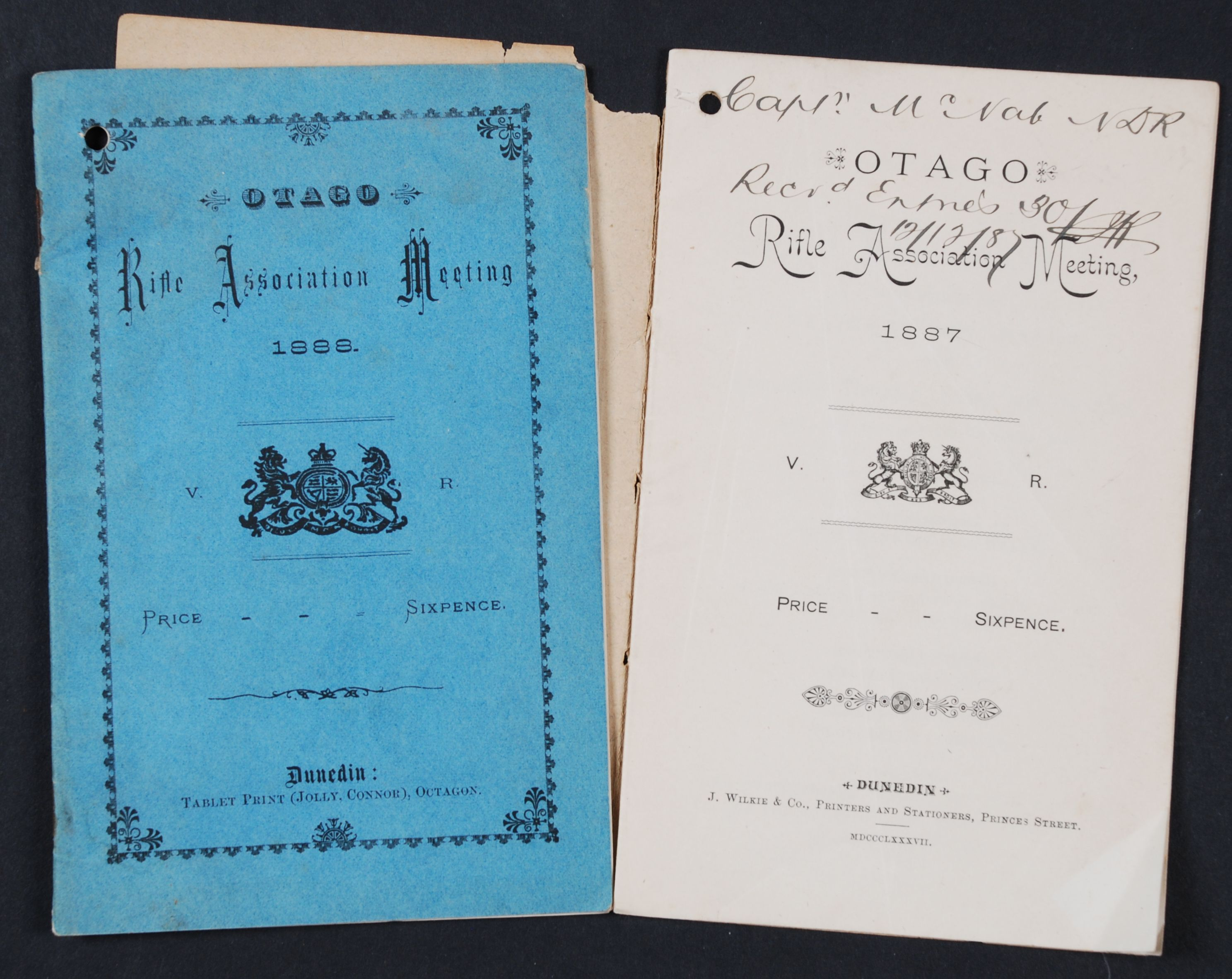 Otago Rifle Association. Otago Rifle Association Meeting.  Dunedin: J. Wilkie & Co., 1887, 1888.