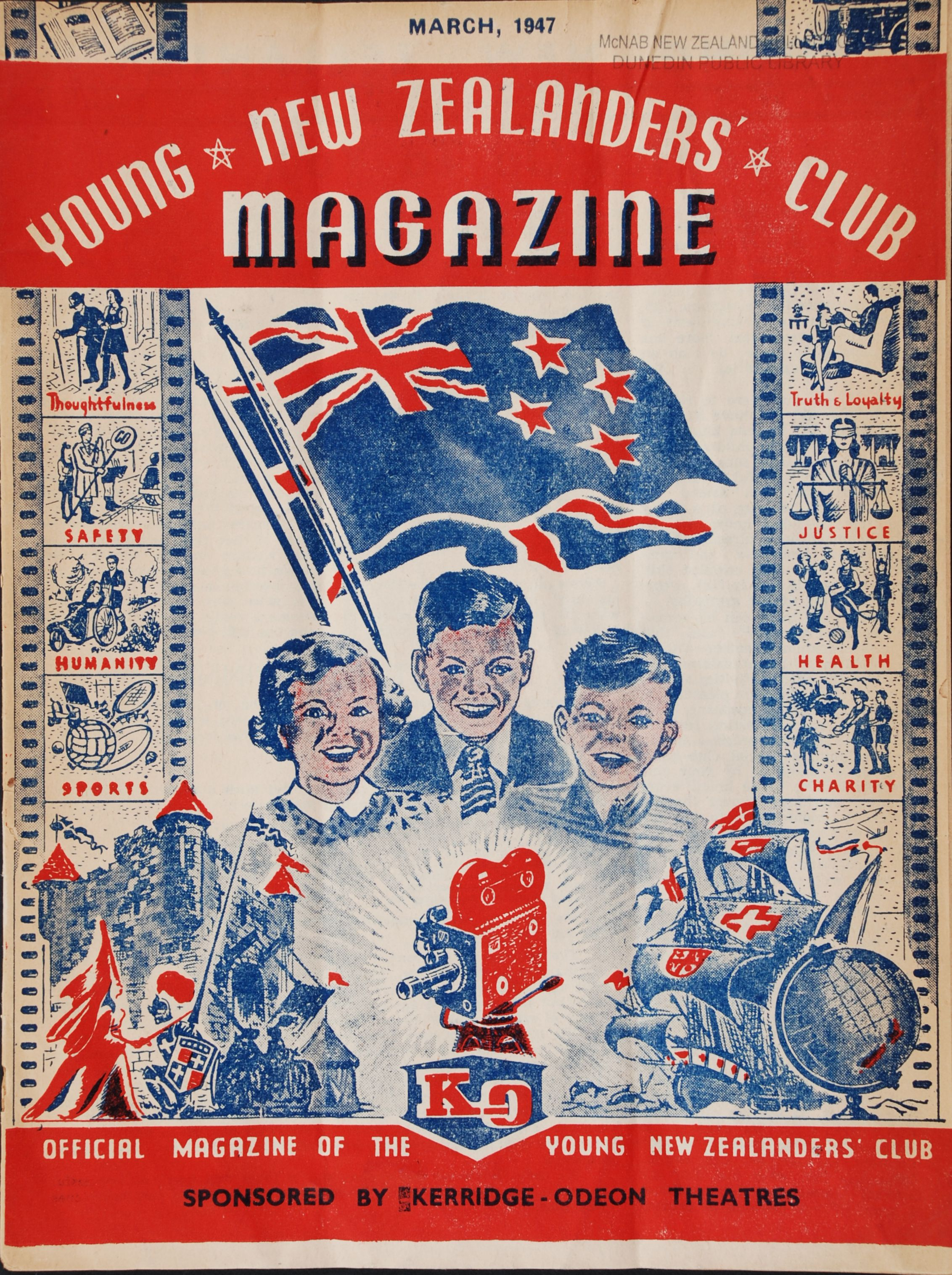 Young New Zealander: Young New Zealanders' Club Magazine. Auckland [N.Z.]: Kerridge Odeon Theatres. Volume 1 no. 2, January 1947.