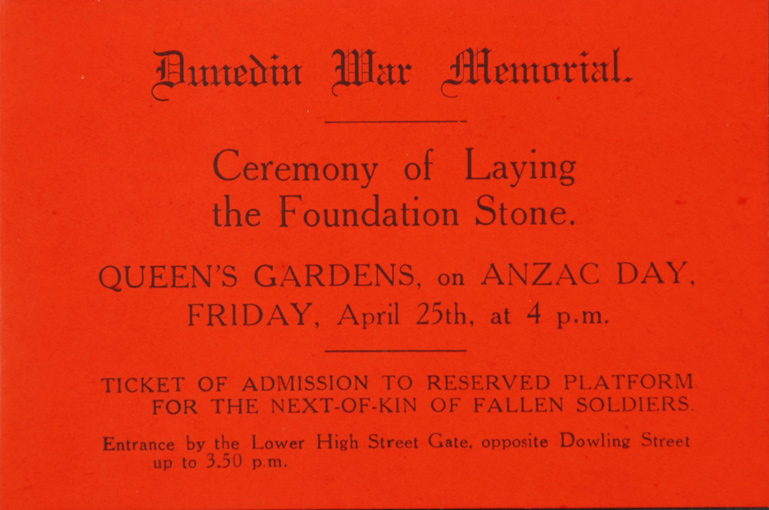Dunedin War Memorial: Ceremony of Laying the Foundation Stone. Entry ticket.  Dunedin, 1924