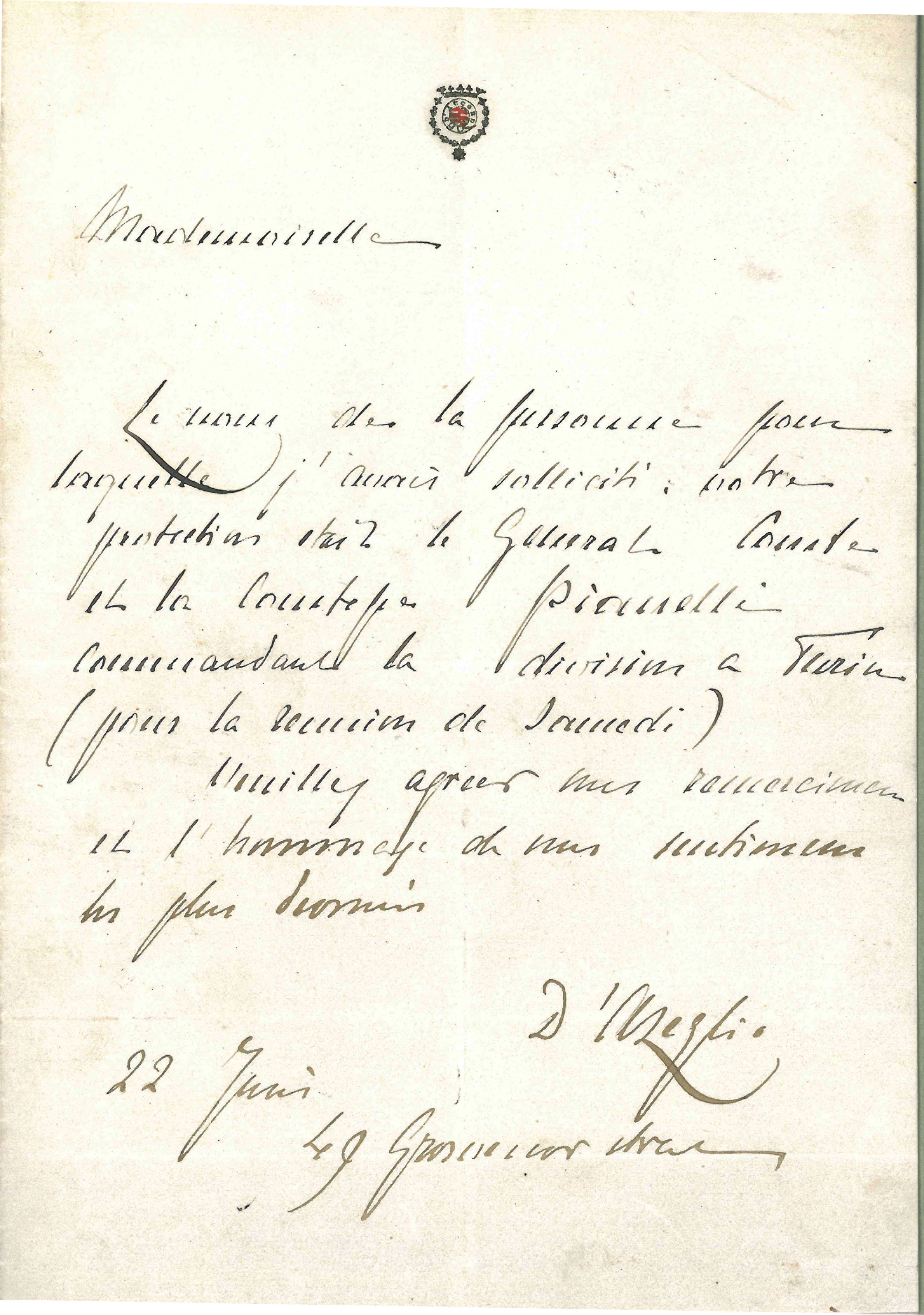 Massimo D'Azeglio (1798-1866) to Anonymous June 22, 1849