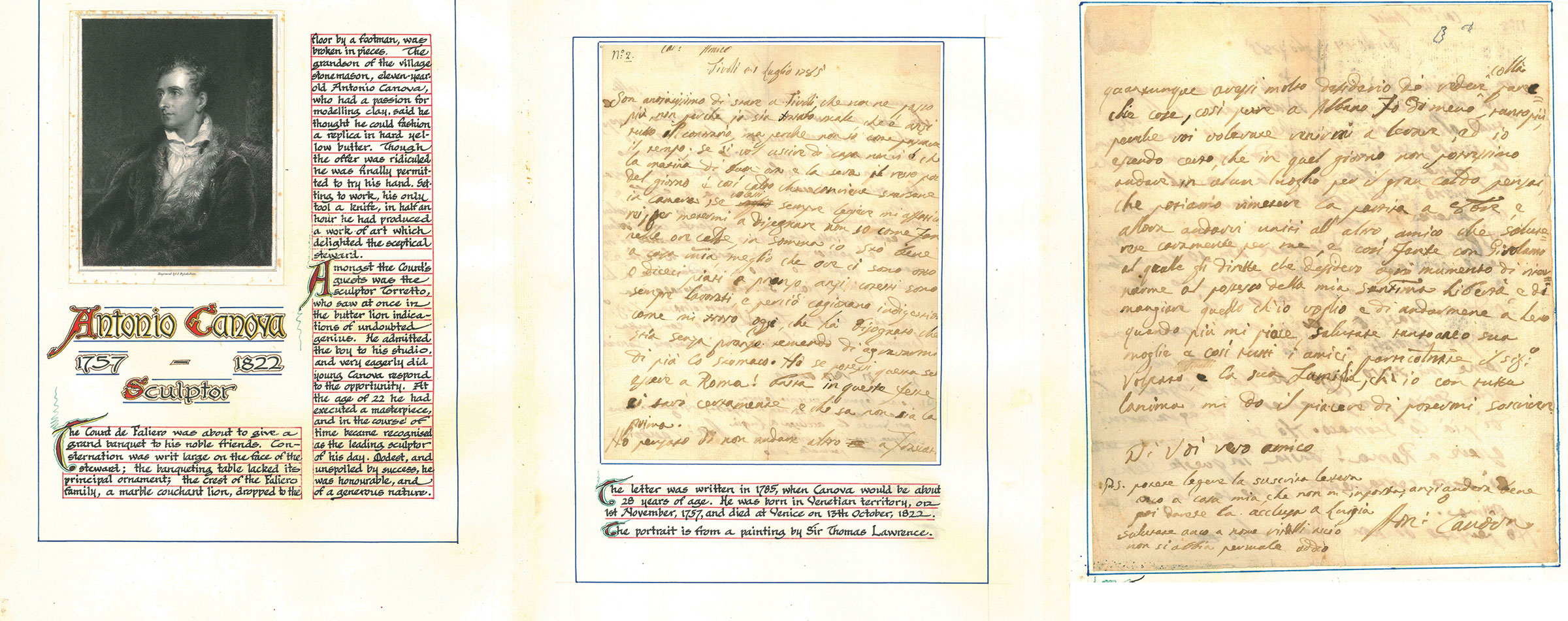 Antonio Canova (1757-1822) to Anonymous Tivoli, July 1, 1785
