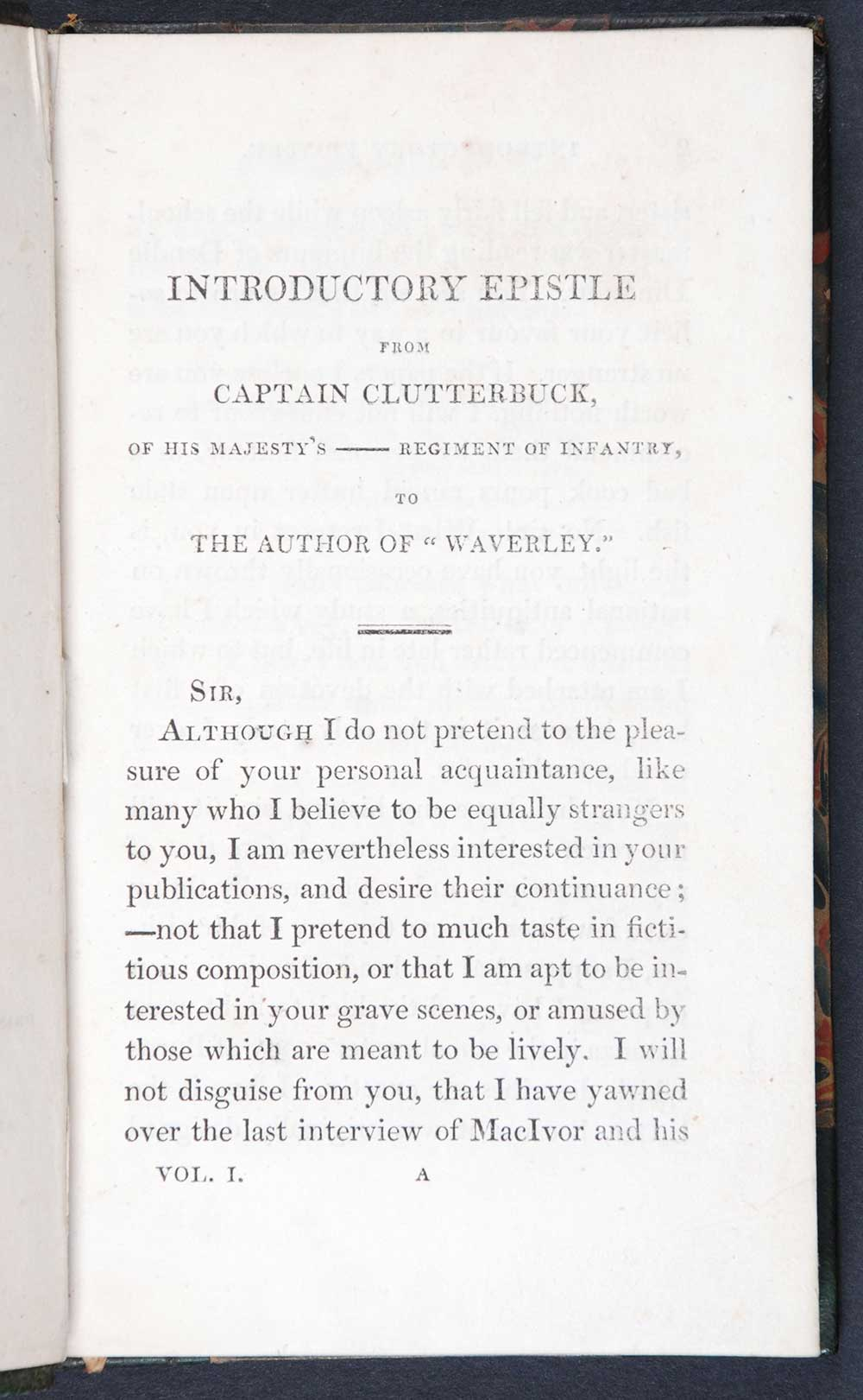 [Sir Walter Scott]. <em>The monastery: a romance.</em> [1st edition]. Edinburgh: Printed for Longman, Hurst, Rees, Orme and Brown, London; and for Archibald Constable and Company, and John Ballantyne, Edinburgh, 1820. Three volumes; Vol. 1 displayed.