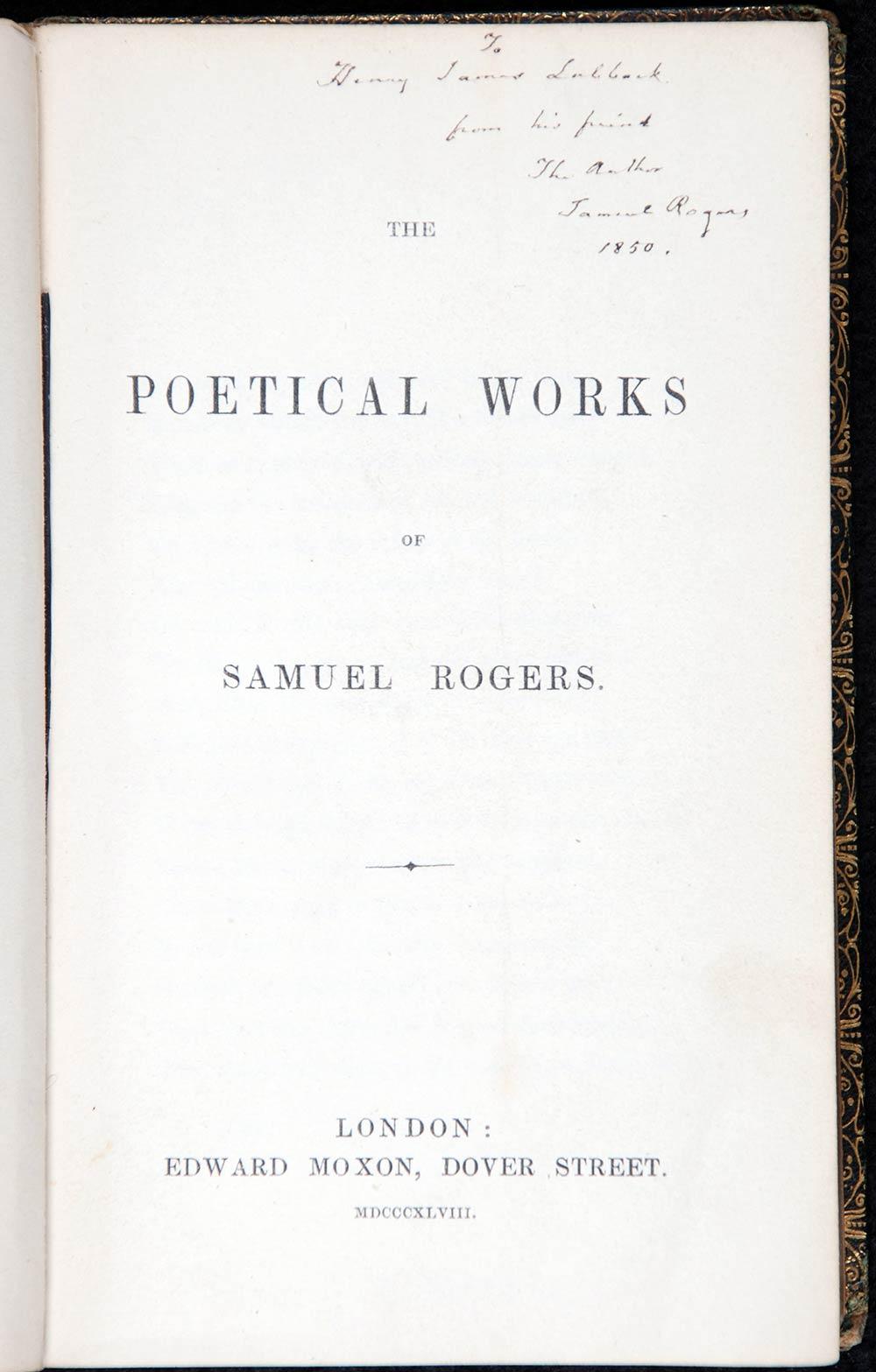 Samuel Rogers. <em>The poetical works of Samuel Rogers</em>. London: Edward Moxon, 1848.