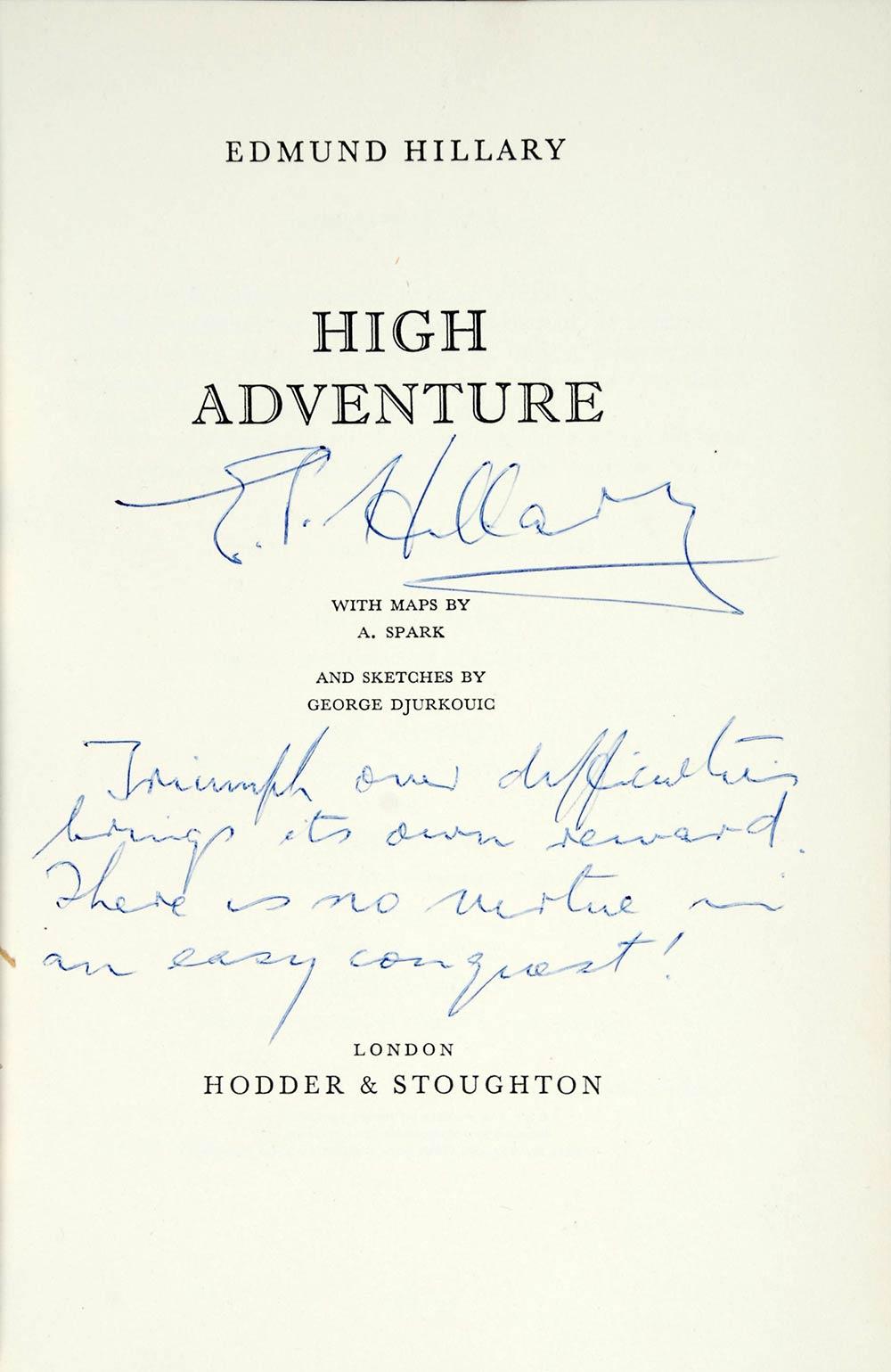Edmund Hillary. <em>High adventure</em>. London: Hodder & Stoughton, 1955.