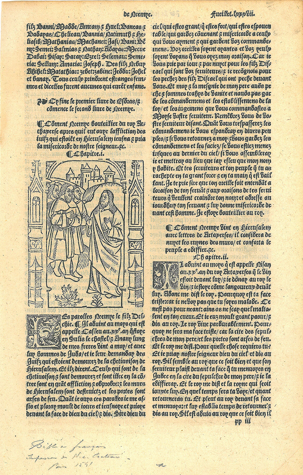 [Single leaf from a Bible in French]. <em>Le premier volume de la Bible en Francois.</em> Paris: Nicolas Couteau, 1541.