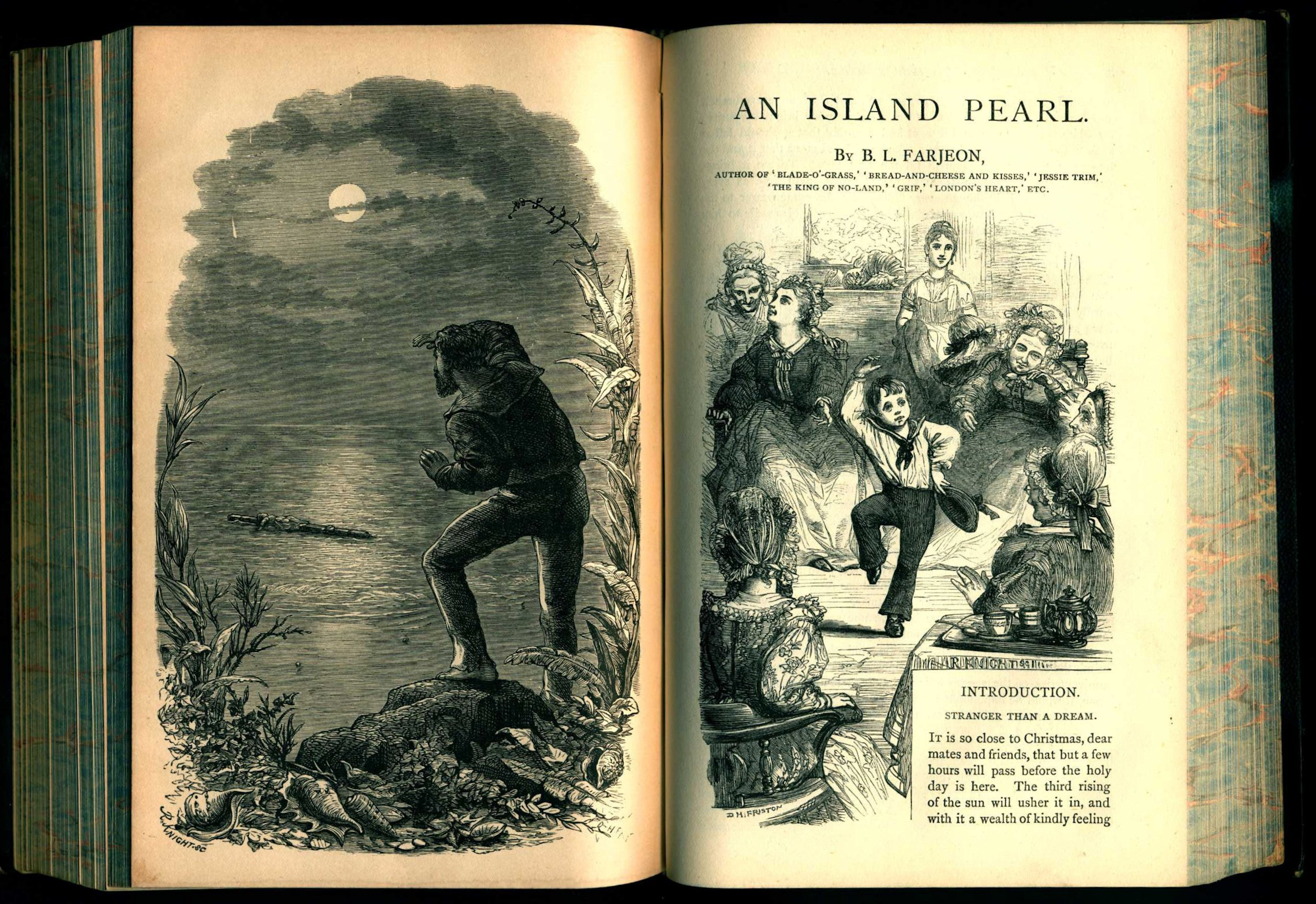 """B.L. Farjeon. """"An Island Pearl"""" in Christmas stories. London: Tinsley Brothers, 1876."""