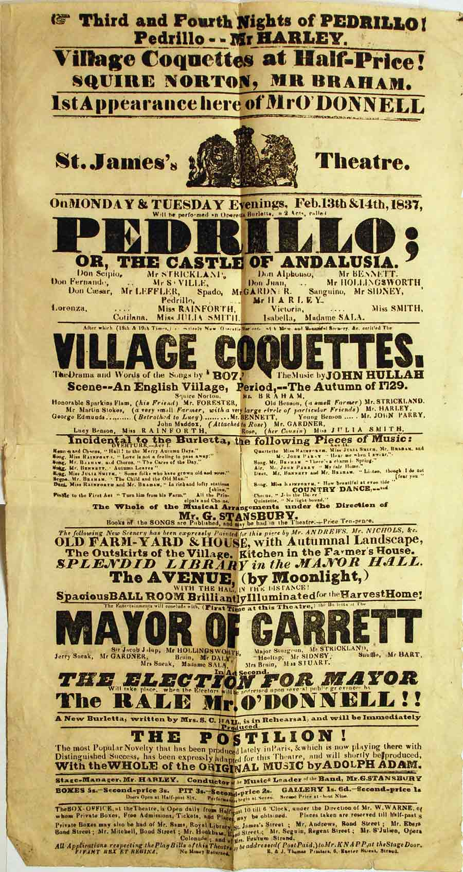 The Village Coquettes: A Comic Opera in Two Acts. London: Richard Bentley, 1836; first edition with playbill tipped in.