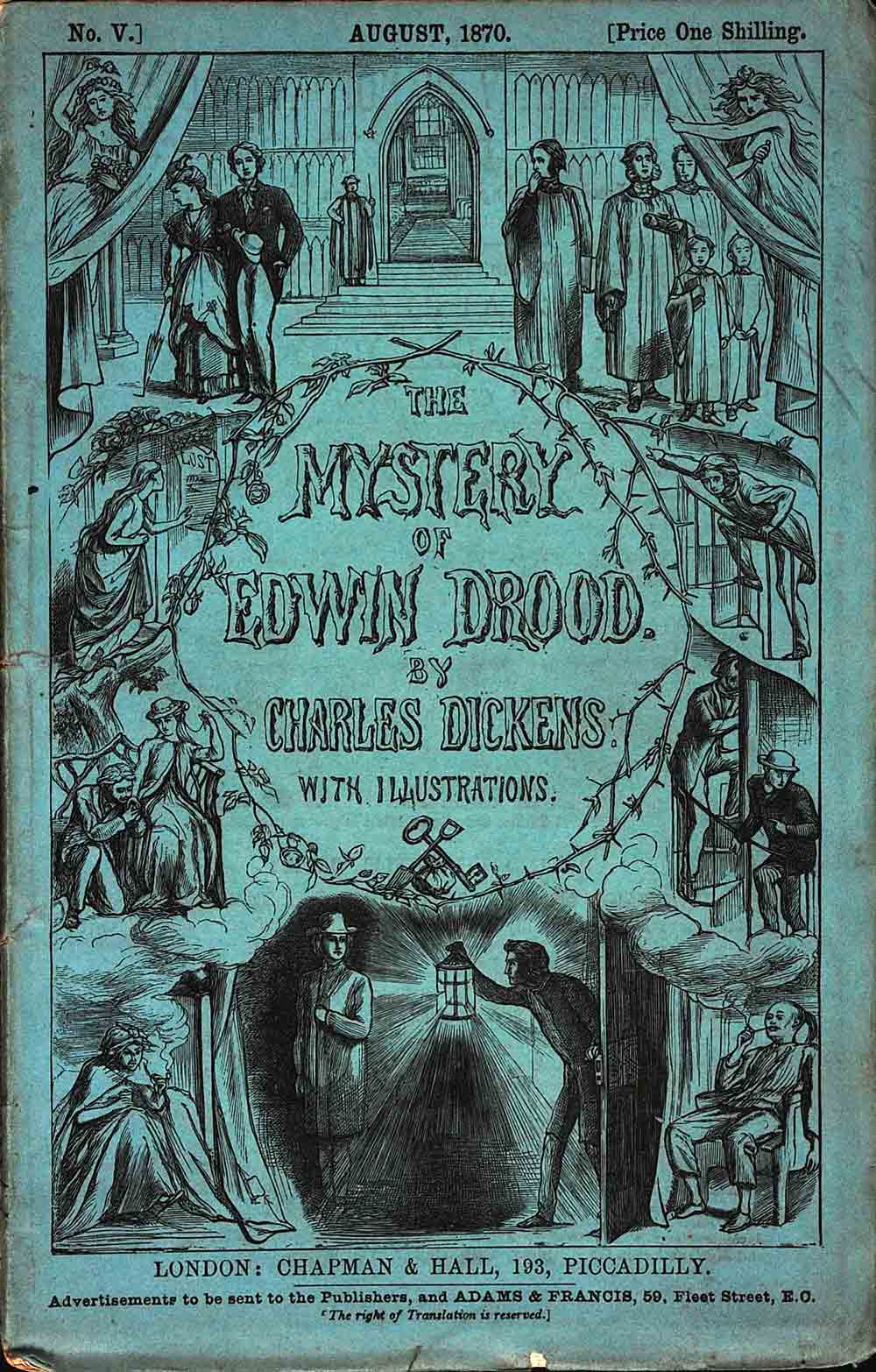 The Mystery of Edwin Drood … with Twelve Illustrations by S. L. Fildes. 6 monthly parts. London: Chapman and Hall, 1870