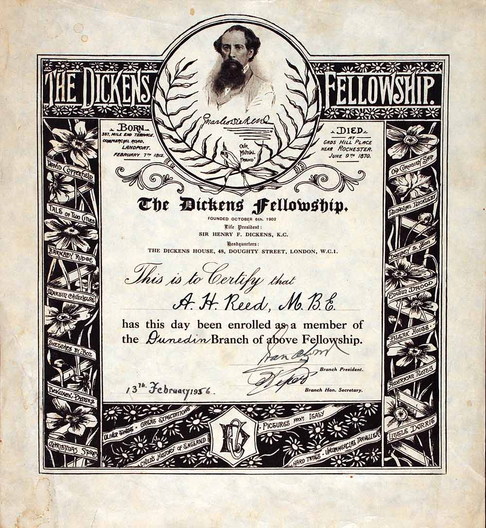 Fellowship induction certificate for A. H. Reed, 13 February 1956