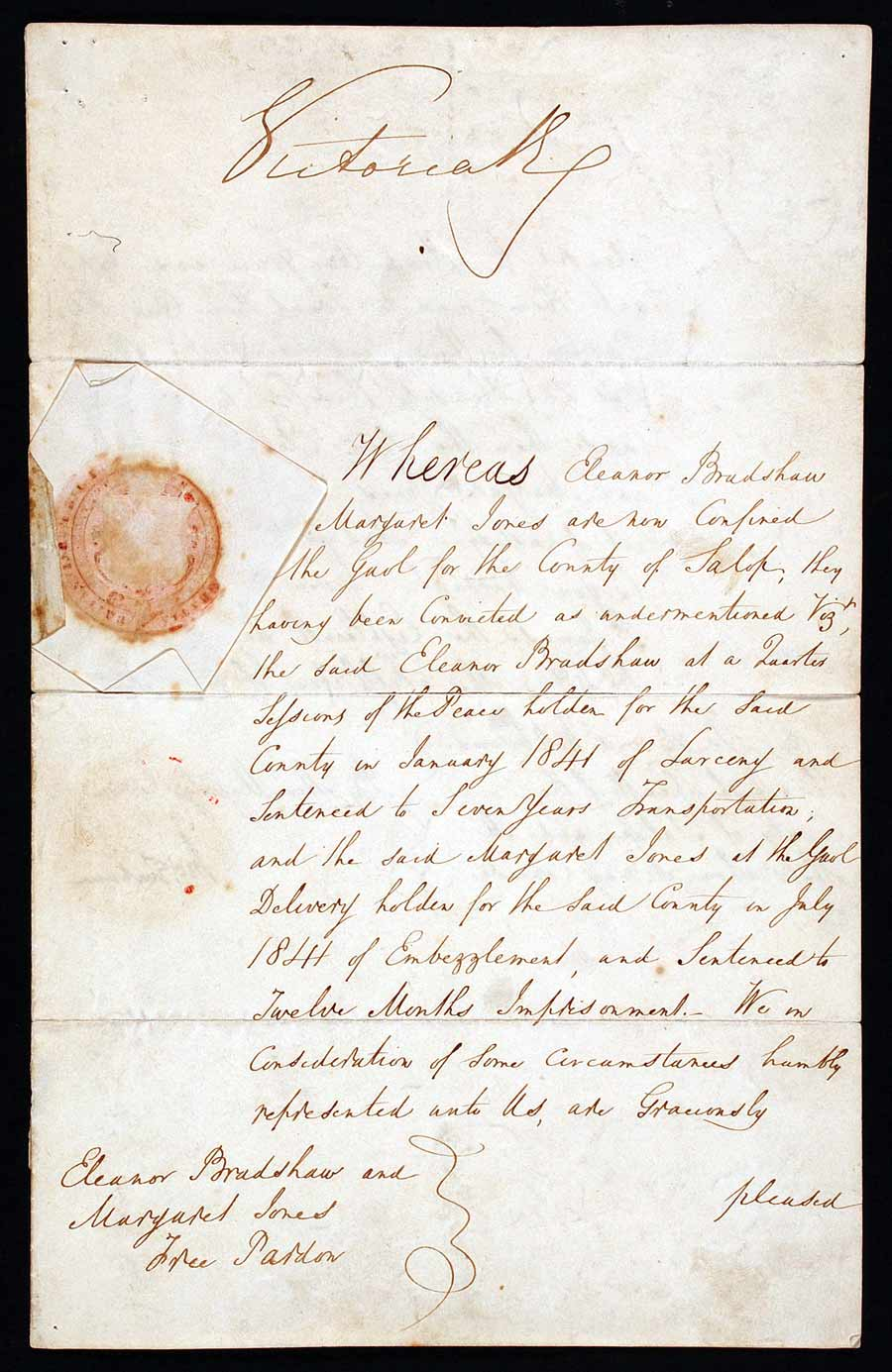 Royal pardon, signed by Queen Victoria (1819–1901) and issued by M E Grimshaw [?] to Henry Justice, High Sheriff of Shropshire, 18 March 1842.