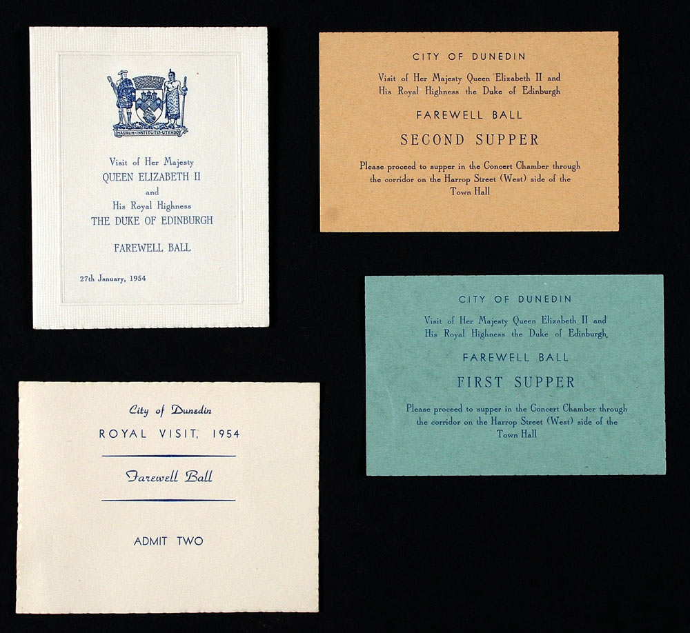 Ephemera relating to the farewell ball for Queen Elizabeth II and the Duke of Edinburgh: one admission card, two tickets to the first and second suppers, and the booklet which enclosed the tickets, 27 January 1954.