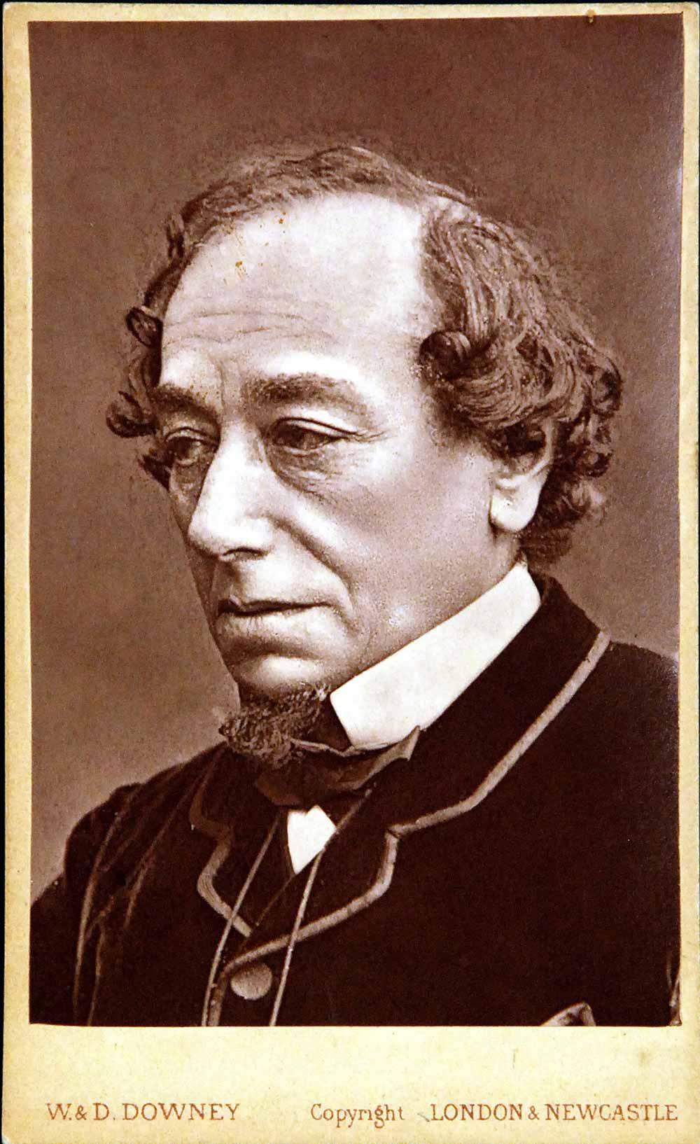 Carte de visite of Benjamin Disraeli, 1st Earl of Beaconsfield, by W. & D. Downey, London, undated.
