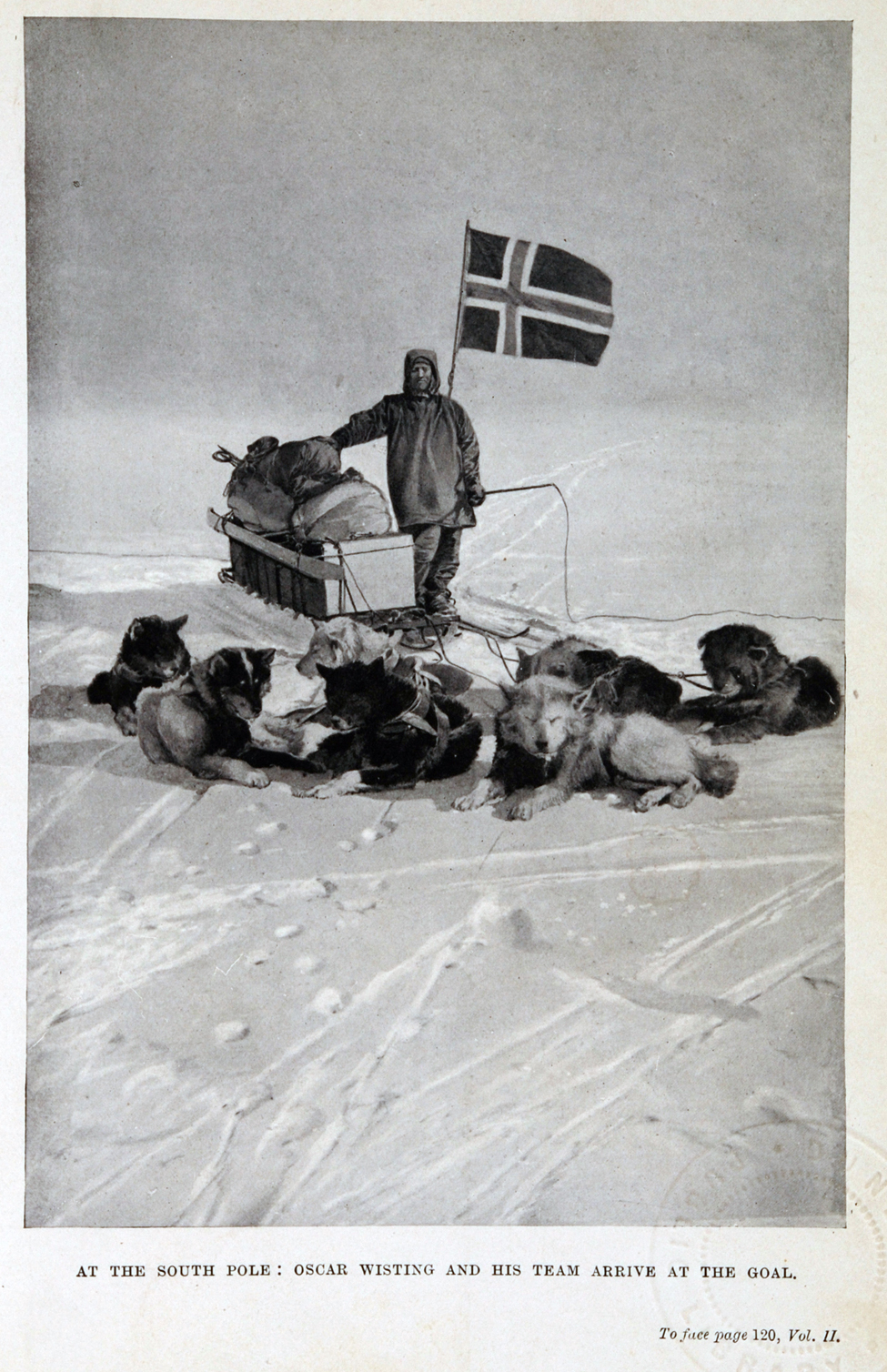 Roald Amundsen. <i>The South Pole: An Account of the Norwegian Antarctic Expedition in the 'Fram', 1910–1912.</i> London: John Murray, 1912. Two volumes, volume two displayed.