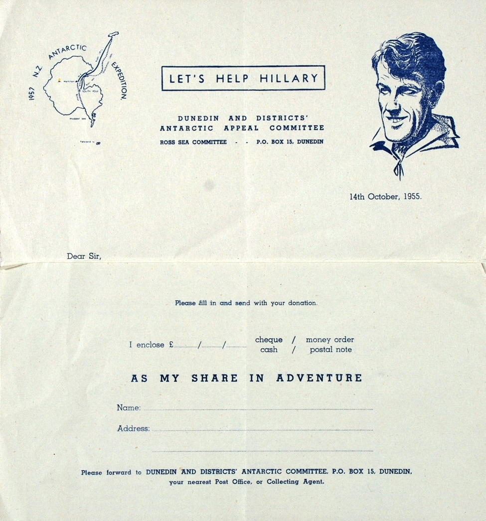 Circular Letter. 'To the Householder', Dunedin Antarctic Appeal Committee, [1955].