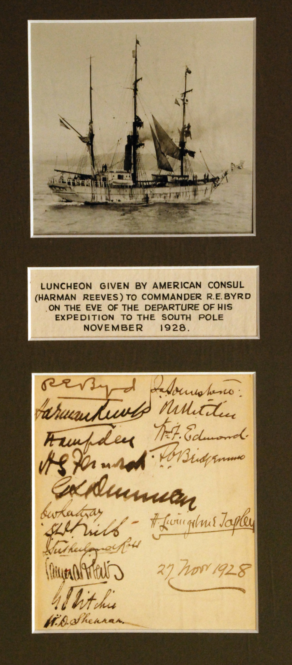 Memento of a Luncheon Given to Commander R. E. Byrd on the Eve of the Departure of his Expedition to the South Pole, Dunedin Club, 27 November 1928.
