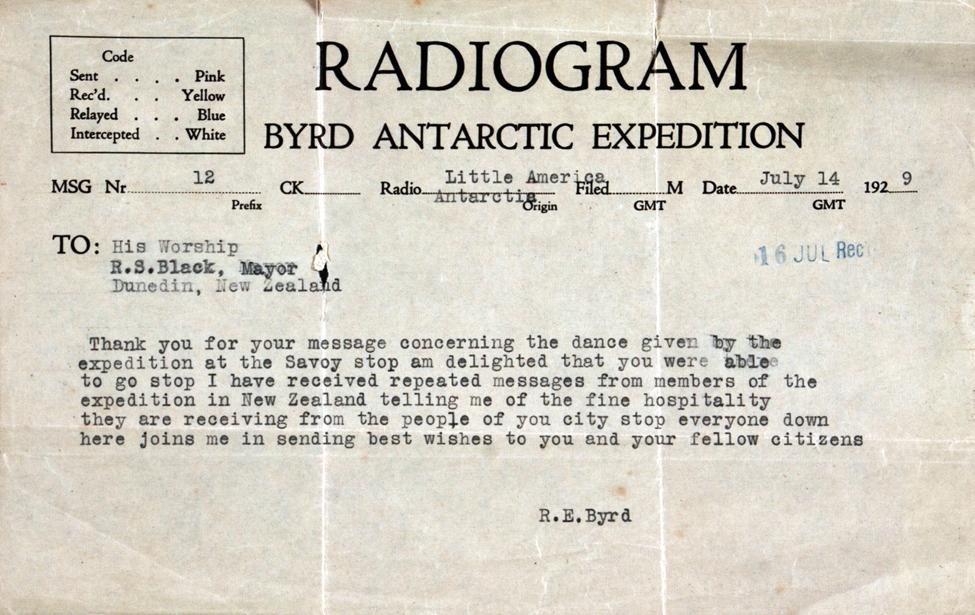Radiogram. Richard E. Byrd to His Worship R. S. Black, Little America, Antarctica, 14 July 1929.