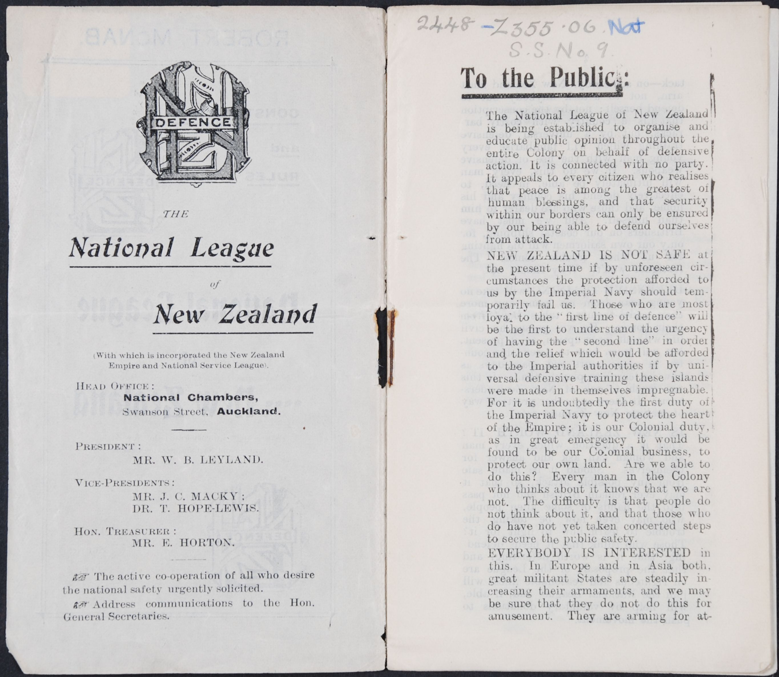 National League of New Zealand. Constitution and Rules: National League of New Zealand (with which is incorporated the New Zealand Empire and National Service League).  Auckland: Herald, 1906.
