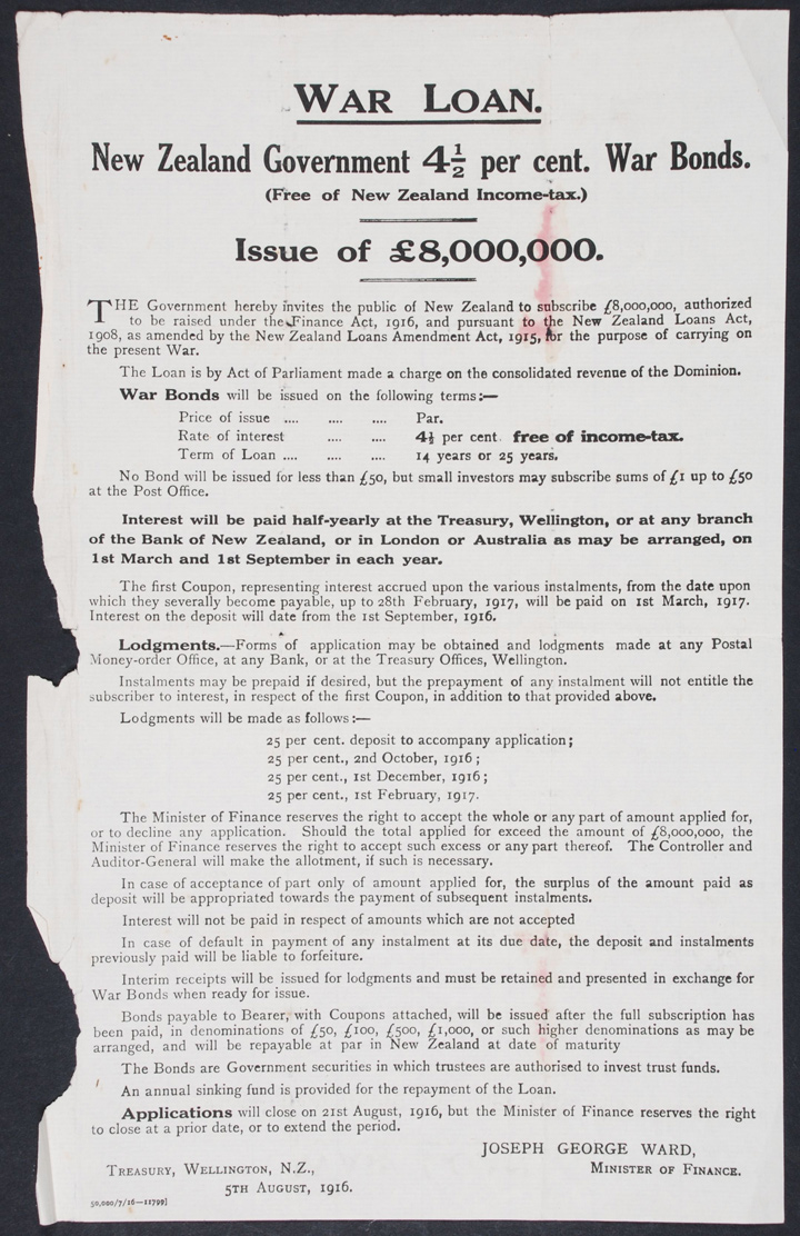 War Loan: New Zealand Government 4½ Per Cent. War Bonds (Free of New Zealand Income-tax.): Issue of £8,000,000. Advertisement. Wellington: The Treasury, 1916