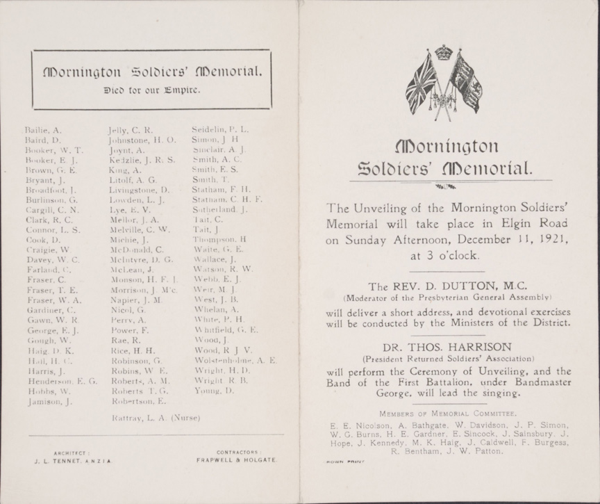 Mornington Soldiers' Memorial. Unveiling Programme. Dunedin, 1921