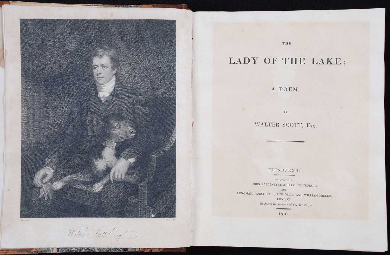 Sir Walter Scott. <em>The lady of the lake: a poem.</em> [1st edition]. Edinburgh: Printed for John Ballantyne and Co., Edinburgh; and Longman, Hurst, Rees and Orme, and William Miller, London; by James Ballantyne and Co., Edinburgh, 1810.